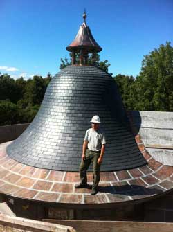 Liam Tower and the bell-shaped slate roof